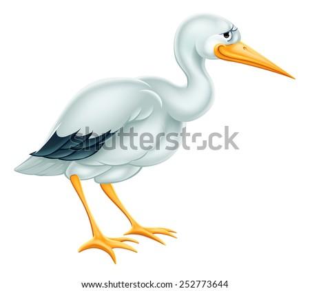 An illustration of a cute cartoon Stork bird character - stock photo