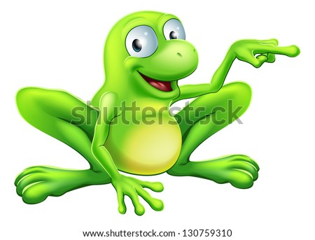 An illustration of a cute green happy frog character pointing or showing something