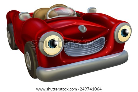 An illustration of a cute red cartoon car charcter mascot - stock photo