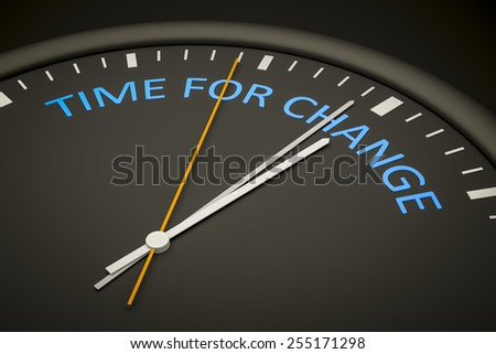 An illustration of a dark clock with the words time for change - stock photo