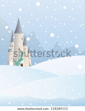 an illustration of a fairytale castle in a christmas mountain landscape with snow falling on a cold winter day