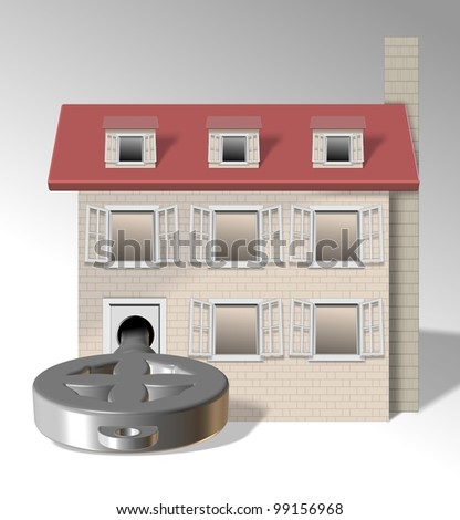 an illustration of a family home with a big key in front of it / key to house