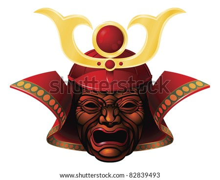An illustration of a fearsome red and yellow samurai mask - stock photo