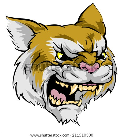 An illustration of a fierce wildcat animal character or sports mascot - stock photo