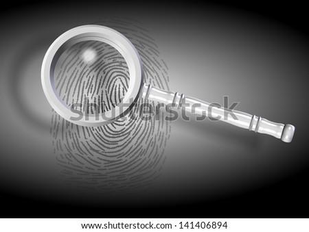An illustration of a fingerprint and a magnifying glass / Fingerprint - stock photo