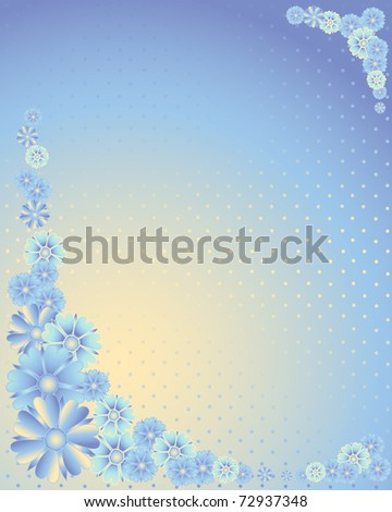 an illustration of a floral design with blue flowers on a blue and yellow dotty background