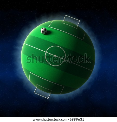 An illustration of a football field, covering an entire planet.