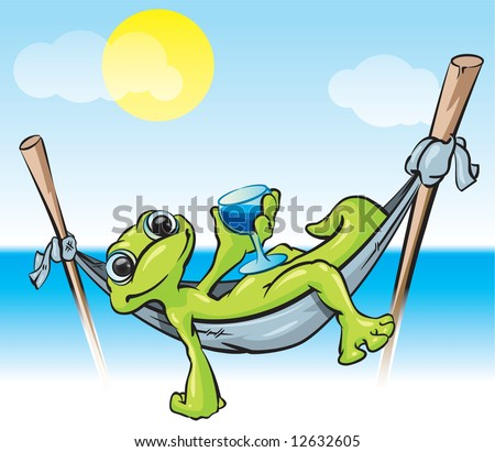 An illustration of a gecko in a hammock with a cold drink - a tropical scene good for tourism and vacation. - stock photo