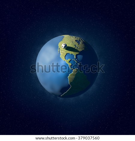 An illustration of a grass and water covered planet with a soccer-ball on the surface