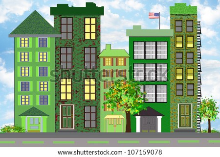 """An illustration of a green city block, representing ecological sustainability through plantings, recycling programs, upgrading buildings for more effective use of energy and other """"green"""" methods. - stock photo"""