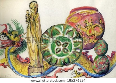 An illustration of a group of Chinese pottery and figures. A watercolour of an antique Chinese wooden figure of a woman holding a baby, ceramic plate and dragon decorated pot, with a ceramic dragon. - stock photo