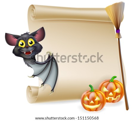 An illustration of a Halloween scroll with space for your message and witches cats and broomstick and cartoon bat - stock photo