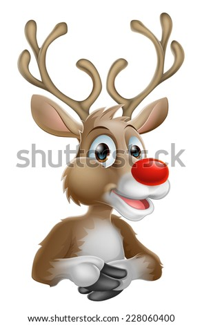 An illustration of a happy cartoon Christmas Reindeer - stock photo