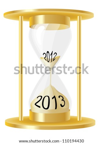 An illustration of a hour glass depicting sand running out from 2012 and into 2013. Also available in vector format - stock photo