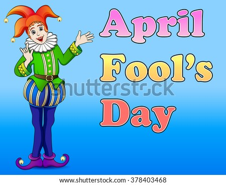 An illustration of a jester April Fool's Day - stock photo
