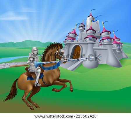 An illustration of a jousting knight with lance on his horse and a fantasy fairytale medieval castle in a landscape of a field of rolling hills - stock photo