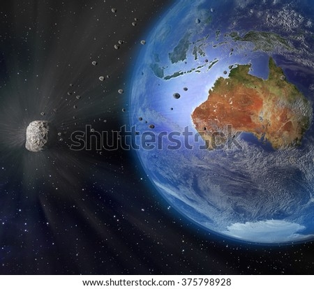 An illustration of a large asteroid flying closely by Earth. Earth land and clouds texture maps courtesy of NASA.gov. - stock photo