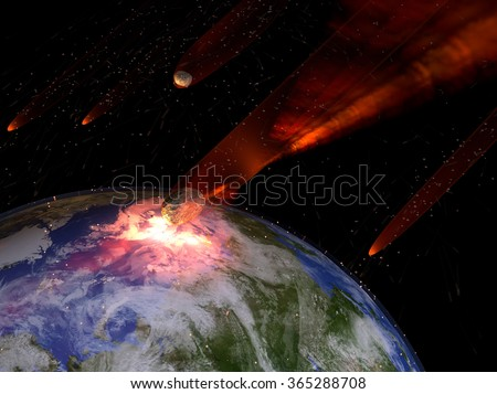 An illustration of a large asteroid strike on Earth. An impact this large would result in the extinction of most all life on Earth. Earth texture map courtesy of NASA - http://visibleearth.nasa.gov/ - stock photo