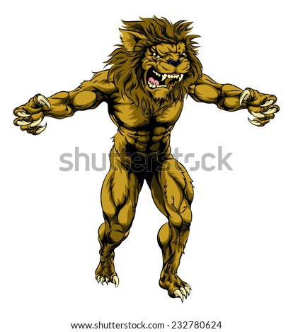 An illustration of a Lion scary sports mascot with claws out