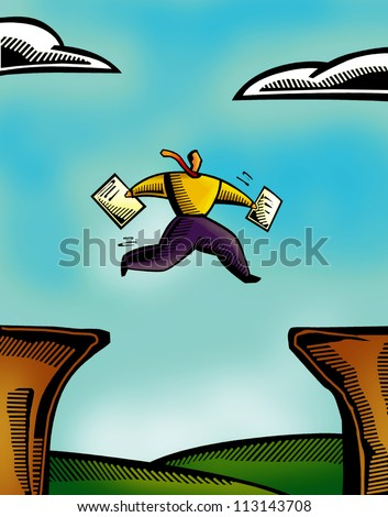 An illustration of a man running across two cliffs - stock photo