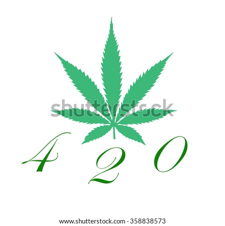 An illustration of a marijuana leaf and the number 420 that represents it and the North American pot culture that follows with it isolated on white.