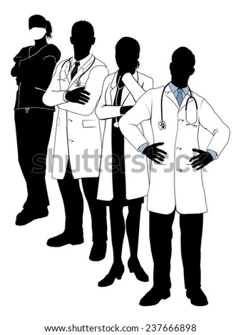 An illustration of a Medical team in silhouette - stock photo