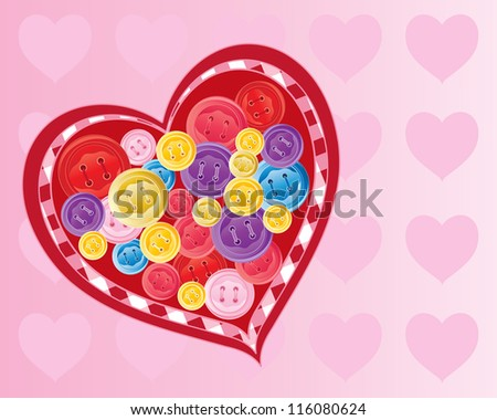 an illustration of a needlework love heart with colorful buttons sewn on the surface with a candy pink valentine background - stock photo