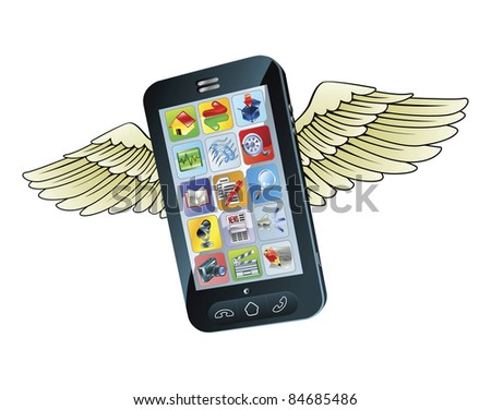 An illustration of a  new smart mobile phone flying with wings