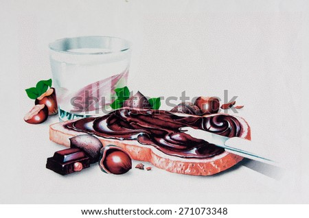 an illustration of a nutty chocolate bread-spread being added to a slice of bread creamy and delicious - stock photo