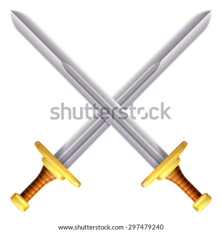 An illustration of a pair of crossed swords - stock photo