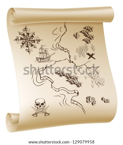 An illustration of a pirate treasure map drawn on a paper scroll - stock photo