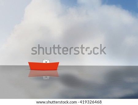 An illustration of a polar bear in a red boat in the North Pole, with no ice - stock photo