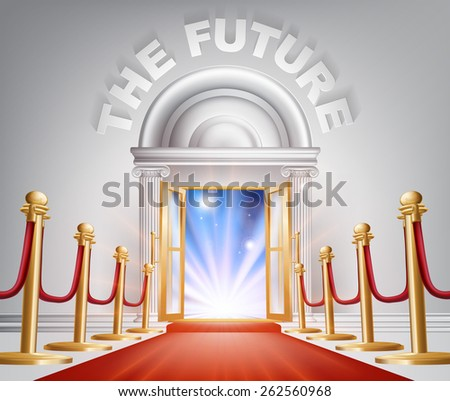 An illustration of a posh looking door with red carpet and The Future above it. Concept for positive changes - stock photo