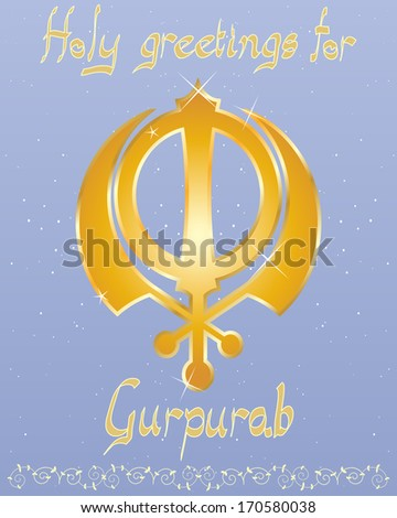 an illustration of a punjabi birthday greeting card with golden lettering and sikh symbol on a starry blue background