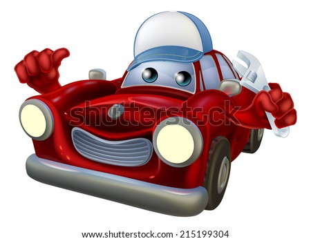 An illustration of a red cartoon car character wearing a cap and holding a spanner while giving a thumbs up. - stock photo