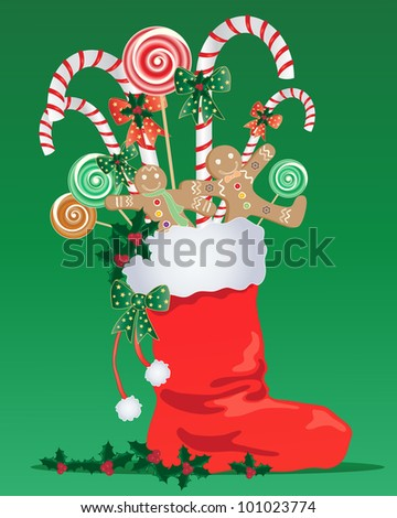 an illustration of a red christmas stocking with white trim full of festive candy with ribbon and holly on a green background - stock photo