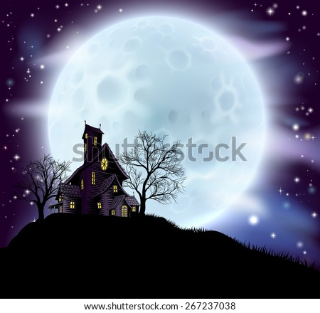 An illustration of a scary Halloween haunted house in silhouette with spooky trees