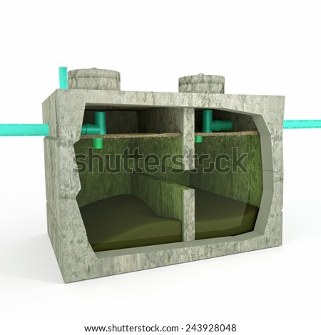 An illustration of a Septic Tank with a section view detailing the inner process and components. - stock photo