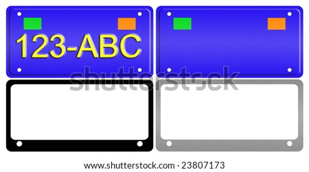 An illustration of a set of license plates and frames. - stock photo