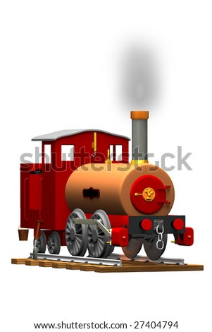 An illustration of a small toy steam train isolated