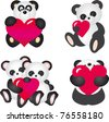 An illustration of a smiling panda carrying a symbol of a heart. Set - stock photo