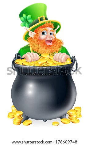 An illustration of a St Patricks day leprechaun with a pot of gold - stock photo