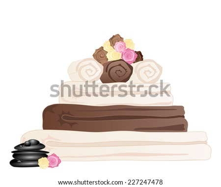 an illustration of a stack of spa towels with rose and black pebble decoration on a white background