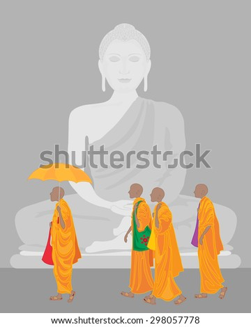 an illustration of a stone statue of buddha with pilgrim buddhist monks in orange robes - stock photo