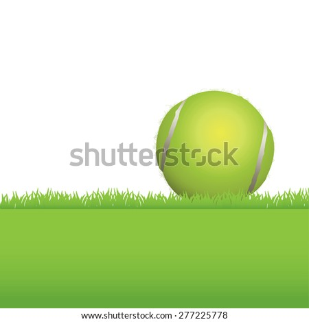 An illustration of a tennis ball sitting in a grass background. Room for copy.