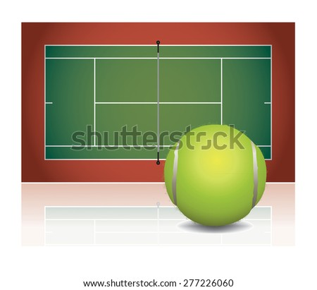 An illustration of a tennis court with a tennis ball. - stock photo