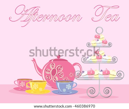 an illustration of a traditional english afternoon tea in advert format with teapot cups and fancy cake stand on a pink background