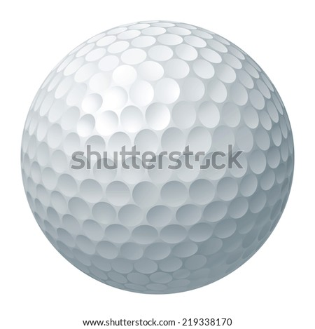 An illustration of a traditional white golf ball - stock photo