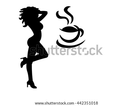 An illustration of a woman in high heels and a curvy figure dancing with a coffee cup. (Isolated to a white background with negative space.)