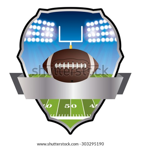 An illustration of an American football field and ball and badge. - stock photo